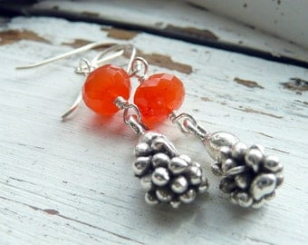Handcrafted Orange Carnelian KHT Artisan Fine Silver Harvest Charm Sterling Silver OOAK Bohemian Hippie Fun Funky Gift for Her  Earrings
