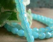 Aqua Opal Czech Glass Beads Milky Light Blue 6mm Round Firepolished  (25)