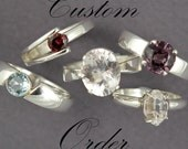 CUSTOM ORDER Smoky Quartz Princess Cut Ring and White Topaz Round Wrap Ring