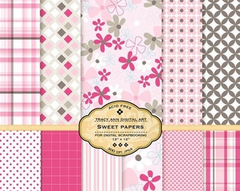 Sweet Digital Papers for scrapbooking, card making, photographers, photo cards