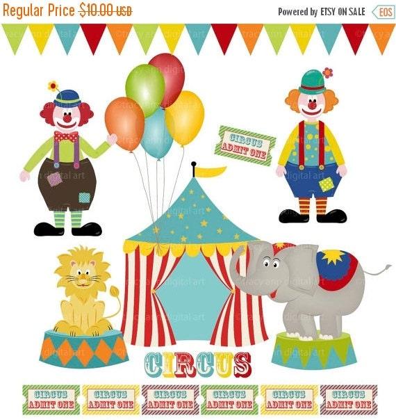 Circus Clip Art, Clowns, Circus tent, Circus Animals, Balloon Clip Art