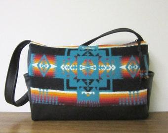 Shoulder Bag Hand Bag Black Leather Native American Print Turquoise Blanket Wool from Pendleton Oregon