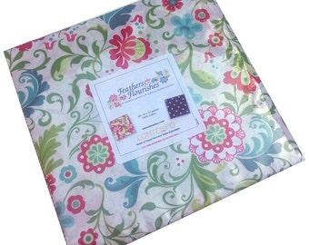 "Benartex FEATHERS & FLOURISHES Precut 10"" Fabric Squares Quilting Cotton Layer Cake"