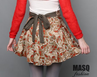 Red circle skirt, Red and brown vintage fabric pattern circle skirt, Satin skirt, Circle pattern skirt, Bow skirt, Brown khaki skirt