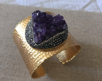 Dara Ettinger Matte Hammered Gold Cuff Bracelet with Pave Crystal Encrusted Amethyst Druzy Cluster