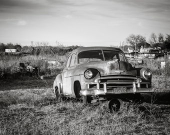 West Texas Car Photography, Classic Car Print, Chevy Deluxe, Texas Photography, Abandoned Automobile, Gift for Dad, 50s Chevy