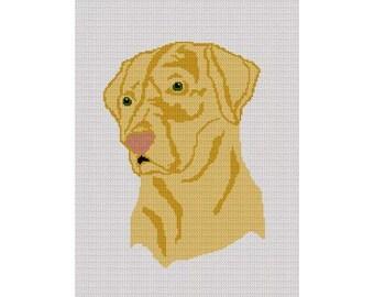 INSTANT DOWNLOAD Chella Crochet Yellow Lab Labrador Dog Afghan Crochet Pattern Graph