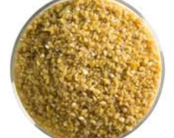 Golden Green Opal Frit, 90 COE, Medium size, Bullseye Glass, 1 pound container