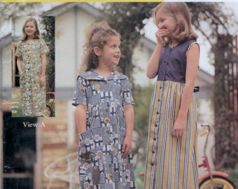 Girls Toddlers Button Front dresses Sewing pattern Sizes 3 to 8 years Lincraft 1052