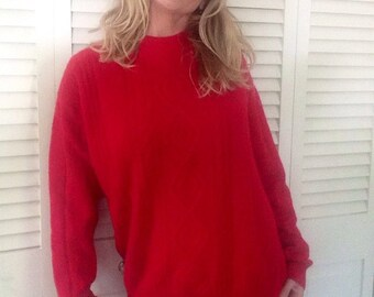 Vintage red cashmere sweater unisex cable knit hipster winter pullover retro christmas holiday