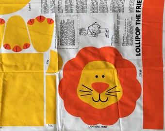 Vintage animals lion tote bag childs pattern kit sewing safari circus orange yellow craft