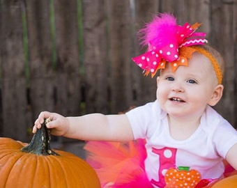 Baby Girl 1st Birthday Tutu Outfit - Pumpkin 1st Birthday Tutu - Cake Smash Photo Prop