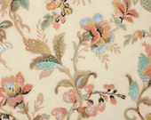 1930s Vintage Wallpaper by the Yard - Blue Brown Yellow and Peach Antique Floral