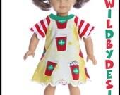 18 inch American Girl Bitty Baby Doll  Holiday Starbucks dress