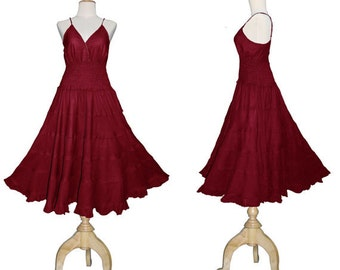Long Maroon Red GYPSY PRINCESS Smock Maxi Dress Hippie Boho Size 10 12 14
