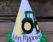 """Tractor 2 Personalized Tractor Birthday Party Hat - """"On the Farm"""" - Name - Boy or Girl - Theme  - Cake Smash - Party Decor"""