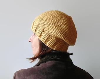 Ochre Wool Beanie - Chunky Knit Hat