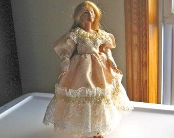 Beige Barbie Dress with Gold Sparkles
