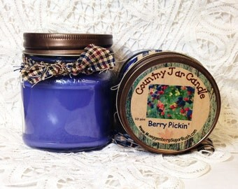 Jar Candle, Mason Jar, Berry Pickin', Black Raspberry Vanilla, 1/2 pint candle, container candle, Moeggenborg Sugar Bush