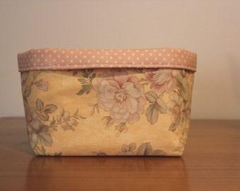Shabby Chic Floral Fabric Storage Basket Box Bin