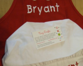 Personalized or Monogrammed Child's 13x19 Apron with Pocket and Child Chef Hat-4 apron colors-Chef Cook Baker
