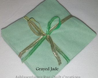 Solid GRAYED JADE, FLANNEL Fabric Squares, Rag Quilt, Traditional Quilting, pick size & quantity, We Cut You Sew