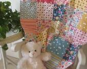 FlASH SALE Modern Baby Quilt, Quilted Blanket Nursery Bedding Baby Blanket - Fine & Dandy, Riley Blake  - Happy Owls Turtles Flowers - Ready