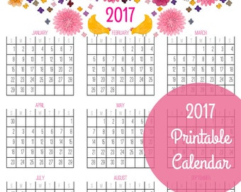 2016 and 2017 Year At A Glance Calendars (both included!) - PDF Printable Download