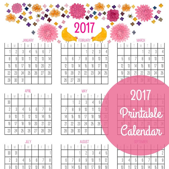 2017 Year At A Glance Calendars PDF Printable Download by yardia