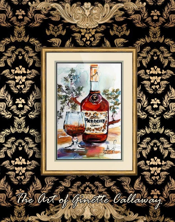 Hennessy Cognac Bottle Original Watercolor Painting by Ginette Callaway