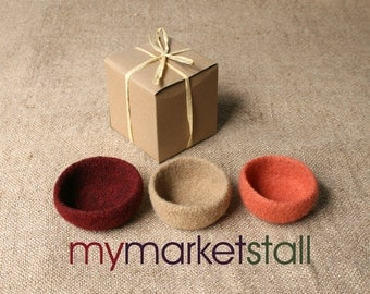 Felted - Stacking Bowls in Root Crop Colors - Beet, Potato and Carrot - Ready to Ship