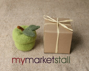 Granny Smith Felted Wool Jar w/Removable Lid - Ready-to-Ship