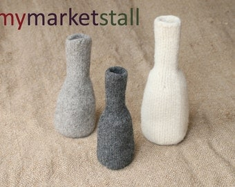 Felted Vase Set - Natural, Med Charcoal and Dark Charcoal - Ready to Ship