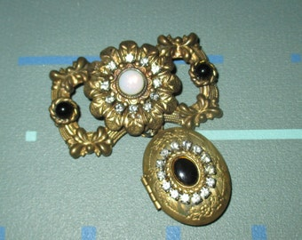 Last Call.....Vintage 30s Floral Motif and Rhinestones Pendant Locket Pin
