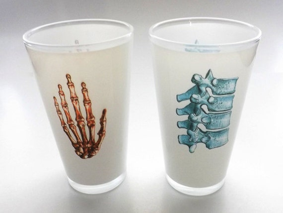 Anatomy Beer PINT Glasses goth gift for him nurse doctor medical student male physical therapist spine graduation unique hostess party favor