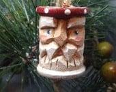 Carved Santa Claus Thread Spool Feather Tree Christmas Ornament, Polka Dots