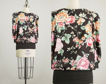 90s Vintage Black Floral Print Slouchy Puff Sleeve Tunic Blouse / Size Medium
