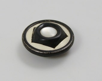 Vintage Celluloid Metal and Mother of Pearl Button