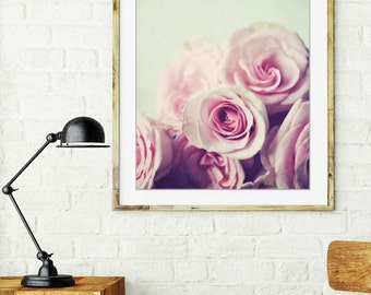 Botanical photography print pale pink rose pastel nursery girls room wall art - Plenty of Roses