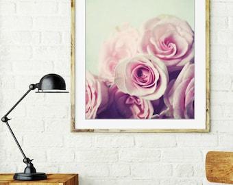 Floral wall art / pink rose photography / minimal print / pale pink flowers / pastel nursery / girls room decor / 'Plenty of Roses'