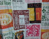 vintage Picasso art exhibit novelty print fabric quilted blanket