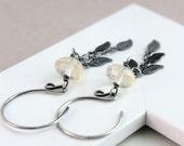 Dangle  Earrings Oxidized  Sterling Silver Gemstone Jewellery Handmade Cluster Earrings Everyday Gem Jewelry Quartz  Jewelry Women Jewellery