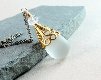 Frosted Glass Necklace Oxidized Sterling Silver White Drop Necklace Two Tone Mixed Metal Jewelry Teardrop Pendant Glass Jewelry Gift For Her