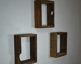 Rustic shadow box wall shelves barnwood set of 3