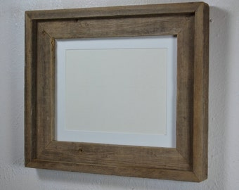 Gorgeous 8x10 reclaimed wood frame with 8 x 6 white mat