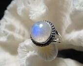 Beautiful Iridescent Moonstone  Ring Size 7.5