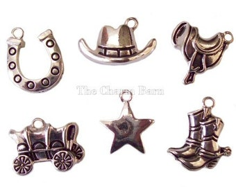 Cowboy Boot Horseshoe Cowboy Hat Saddle Stagecoach Western Charms Set of 5 Silver Finish Craft Charms Bracelet Necklace Earrings Scrapbook