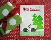 Letterpress Card - Merry Christmas Hedgehogs