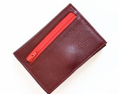 Custom Womens Leather Wallet, Personalized Womens Zipper Wallet, Small Leather Wallet, Trifold Womens Wallet, The Frances Wallet in Burgundy
