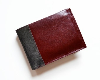 Mens Leather Wallet, Bifold Leather Wallet, Gift for Him, ID Holder Wallet, Credit Card Wallet - The Wesley Wallet in Oxblood Red